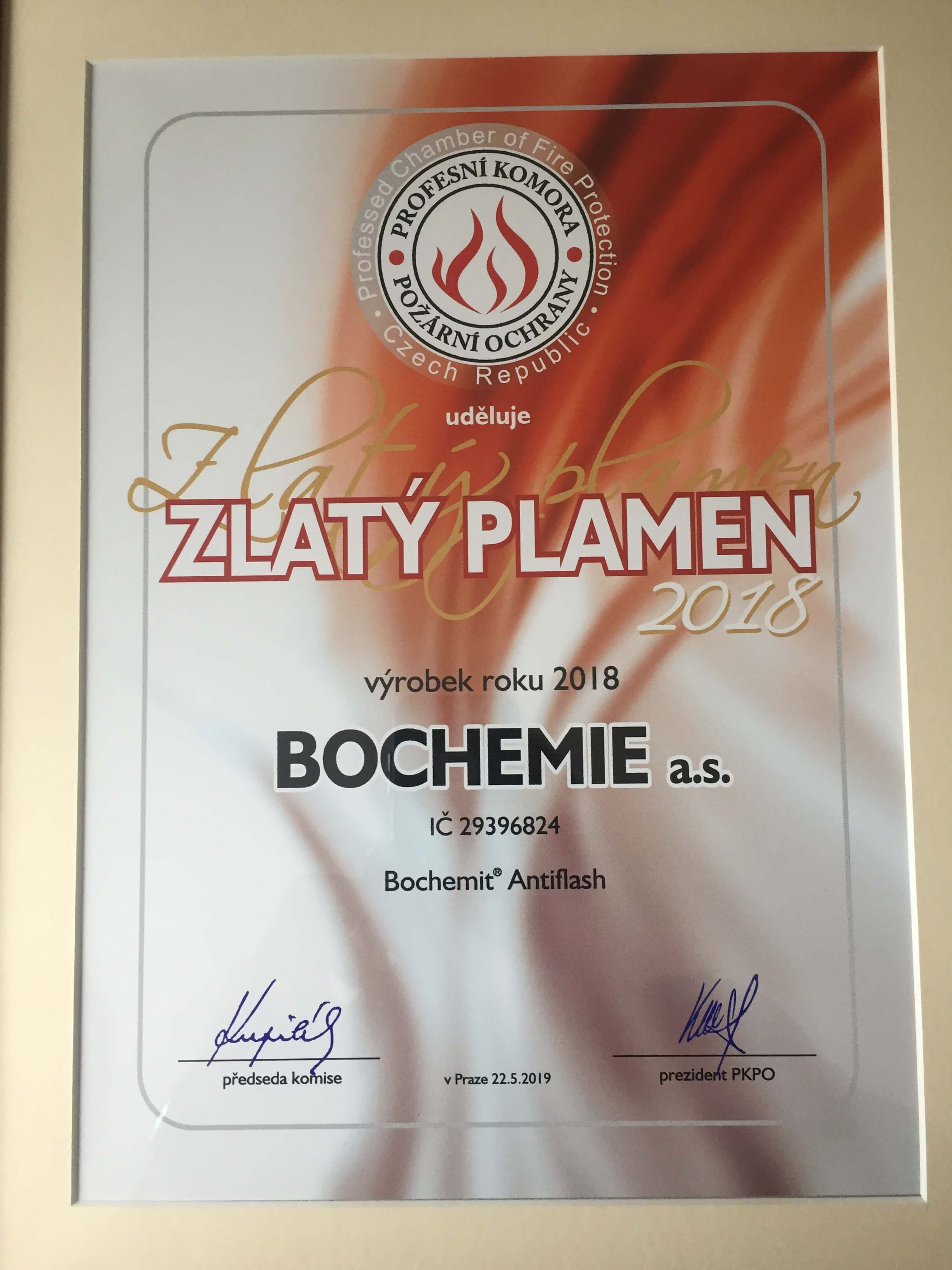 BOCHEMIT Antiflash picks up award from the Czech Professional Chamber of Fire Protection